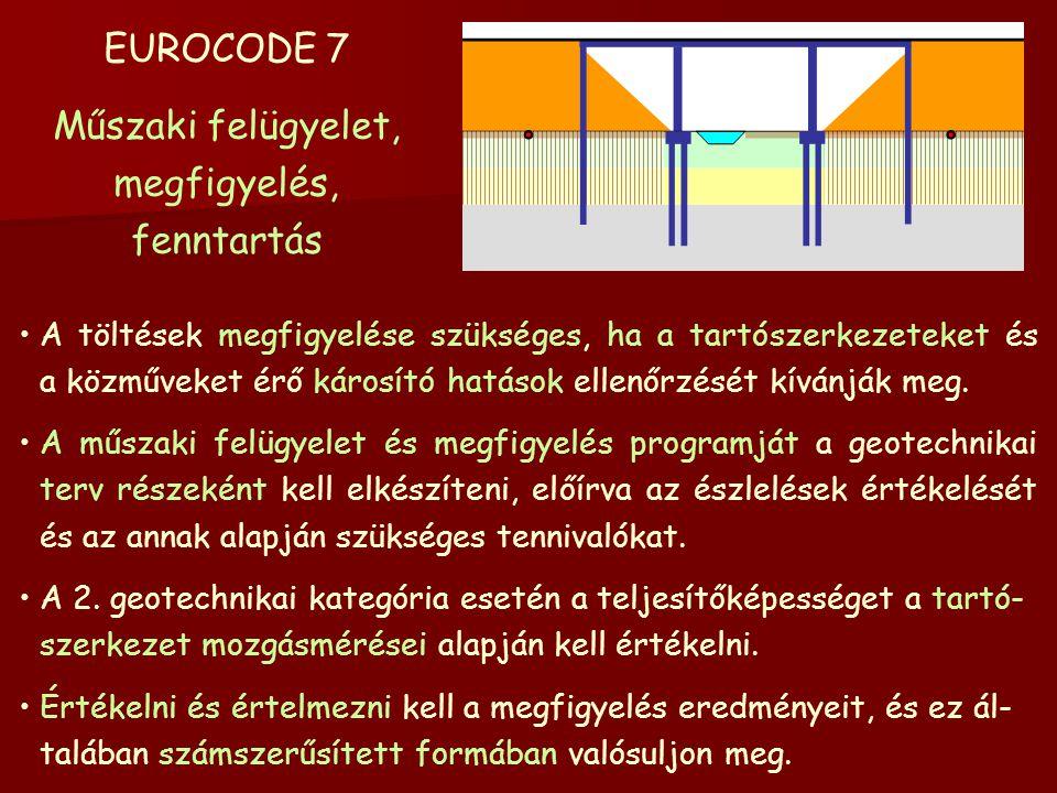 EUROCODE 7 Műszaki felügyelet, megfigyelés, fenntartás A töltések megfigyelése szükséges, ha a tartószerkezeteket és a közműveket érő károsító hatások ellenőrzését kívánják meg.