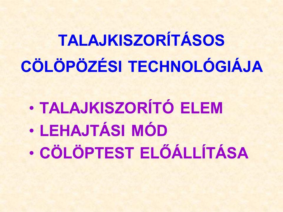 TALAJKISZORÍTÁSOS CÖLÖPÖZÉSI TECHNOLÓGIÁJA TALAJKISZORÍTÓ ELEM LEHAJTÁSI MÓD CÖLÖPTEST ELŐÁLLÍTÁSA