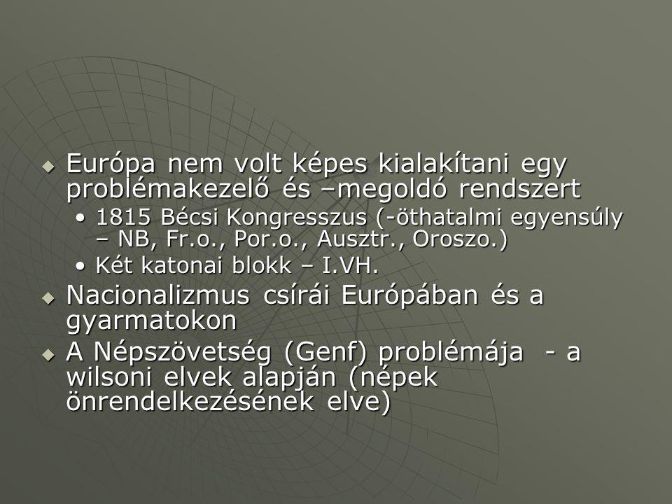  Európa nem volt képes kialakítani egy problémakezelő és –megoldó rendszert 1815 Bécsi Kongresszus (-öthatalmi egyensúly – NB, Fr.o., Por.o., Ausztr., Oroszo.)1815 Bécsi Kongresszus (-öthatalmi egyensúly – NB, Fr.o., Por.o., Ausztr., Oroszo.) Két katonai blokk – I.VH.Két katonai blokk – I.VH.