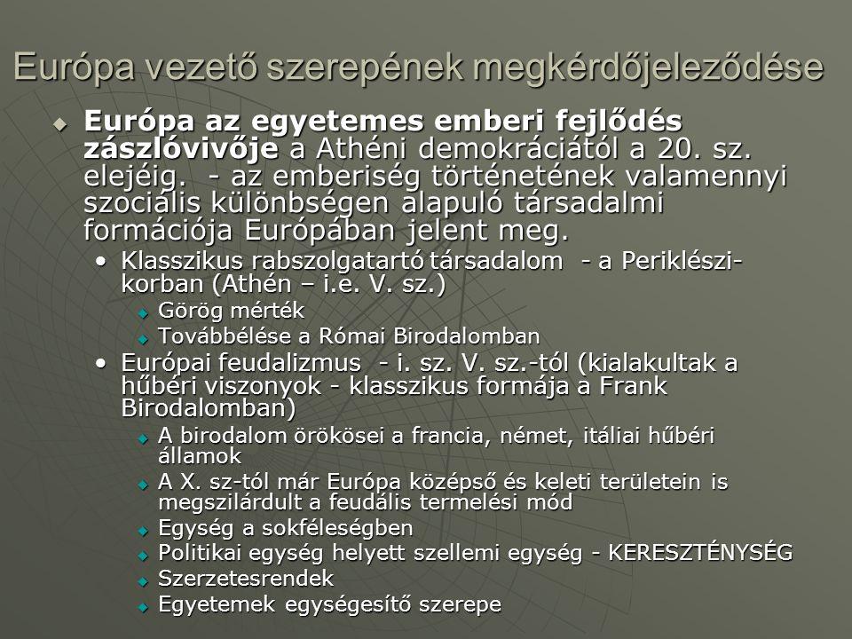 Európa vezető szerepének megkérdőjeleződése  Európa az egyetemes emberi fejlődés zászlóvivője a Athéni demokráciától a 20.