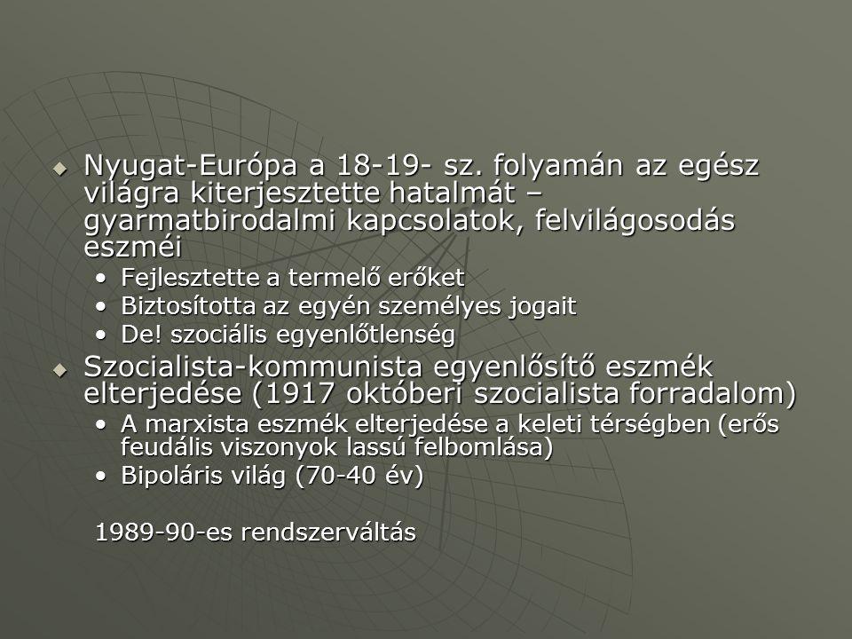  Nyugat-Európa a 18-19- sz.