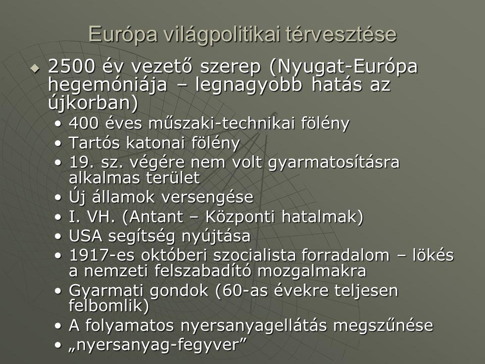 Európa világpolitikai térvesztése  2500 év vezető szerep (Nyugat-Európa hegemóniája – legnagyobb hatás az újkorban) 400 éves műszaki-technikai fölény400 éves műszaki-technikai fölény Tartós katonai fölényTartós katonai fölény 19.