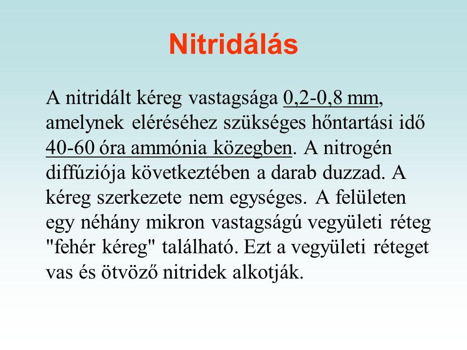 Nitridálás, karbonitridálás A nitridálás célja az acél felületébe nitrogén bejuttatása, amely a felületen kemény kopásálló, korrózióálló, a kifáradáss