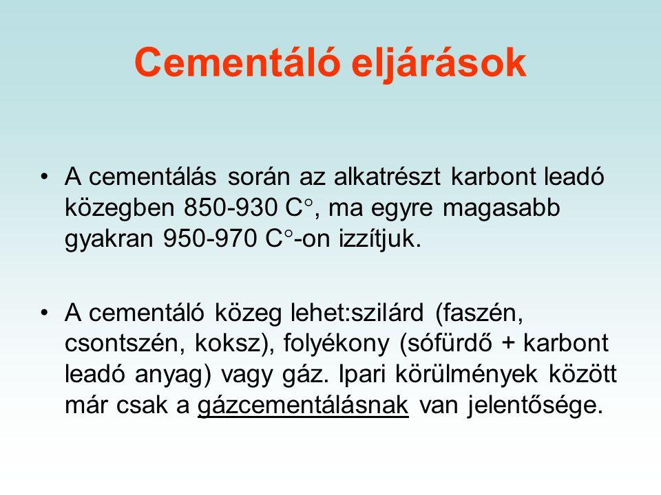 Cementálás A cementálás két részfolyamatból áll. A karbon atomok a cementáló közegből az ott lejátszódó reakciók következményeként az acél felületére