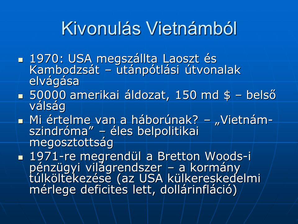 Kivonulás Vietnámból 1970: USA megszállta Laoszt és Kambodzsát – utánpótlási útvonalak elvágása 1970: USA megszállta Laoszt és Kambodzsát – utánpótlás