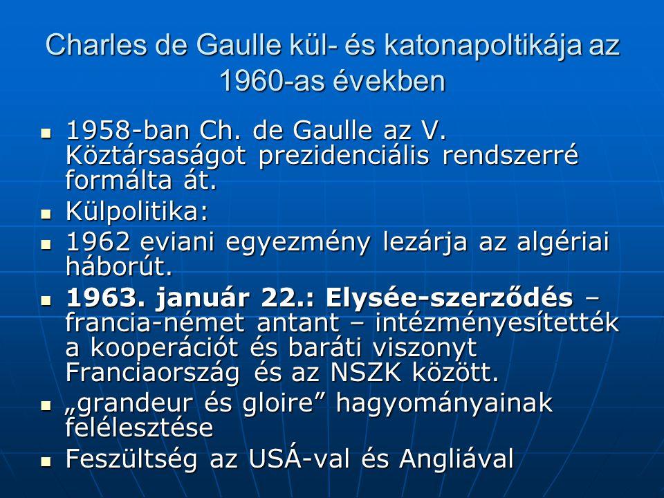 Charles de Gaulle kül- és katonapoltikája az 1960-as években 1958-ban Ch. de Gaulle az V. Köztársaságot prezidenciális rendszerré formálta át. 1958-ba