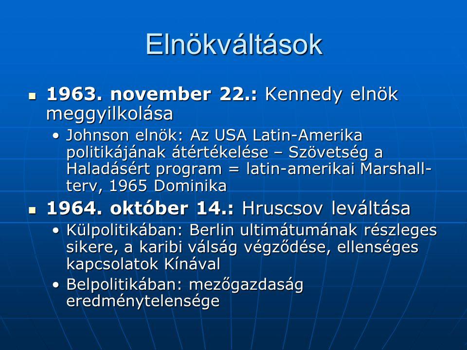 Elnökváltások 1963. november 22.: Kennedy elnök meggyilkolása 1963. november 22.: Kennedy elnök meggyilkolása Johnson elnök: Az USA Latin-Amerika poli