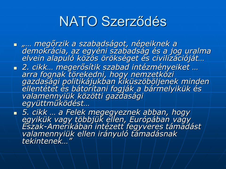 """NATO Szerződés """"… megőrzik a szabadságot, népeiknek a demokrácia, az egyéni szabadság és a jog uralma elvein alapuló közös örökséget és civilizációját"""