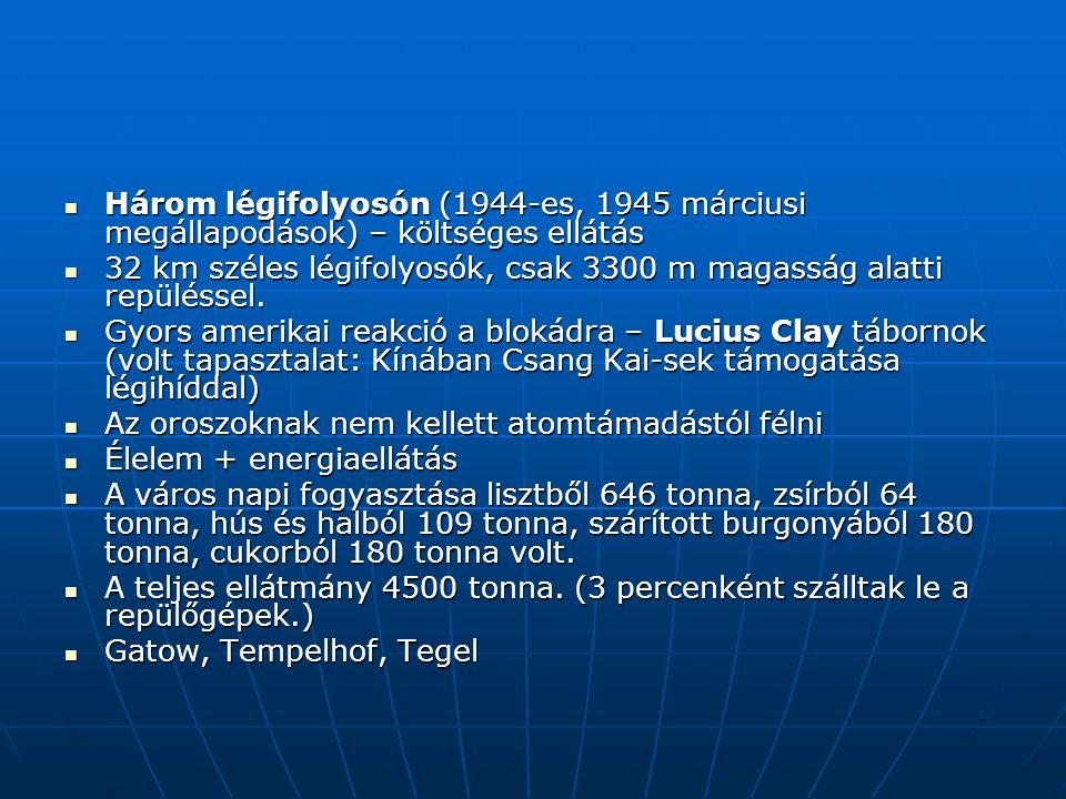 Három légifolyosón (1944-es, 1945 márciusi megállapodások) – költséges ellátás Három légifolyosón (1944-es, 1945 márciusi megállapodások) – költséges ellátás 32 km széles légifolyosók, csak 3300 m magasság alatti repüléssel.