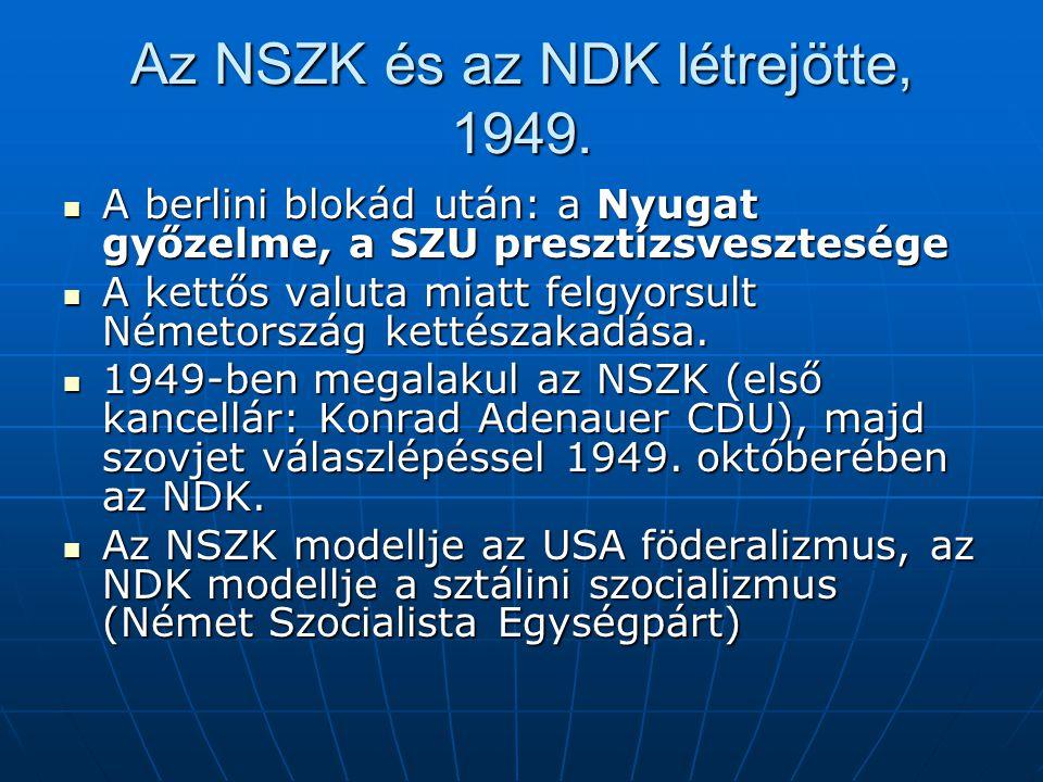 Az NSZK és az NDK létrejötte, 1949. A berlini blokád után: a Nyugat győzelme, a SZU presztízsvesztesége A berlini blokád után: a Nyugat győzelme, a SZ