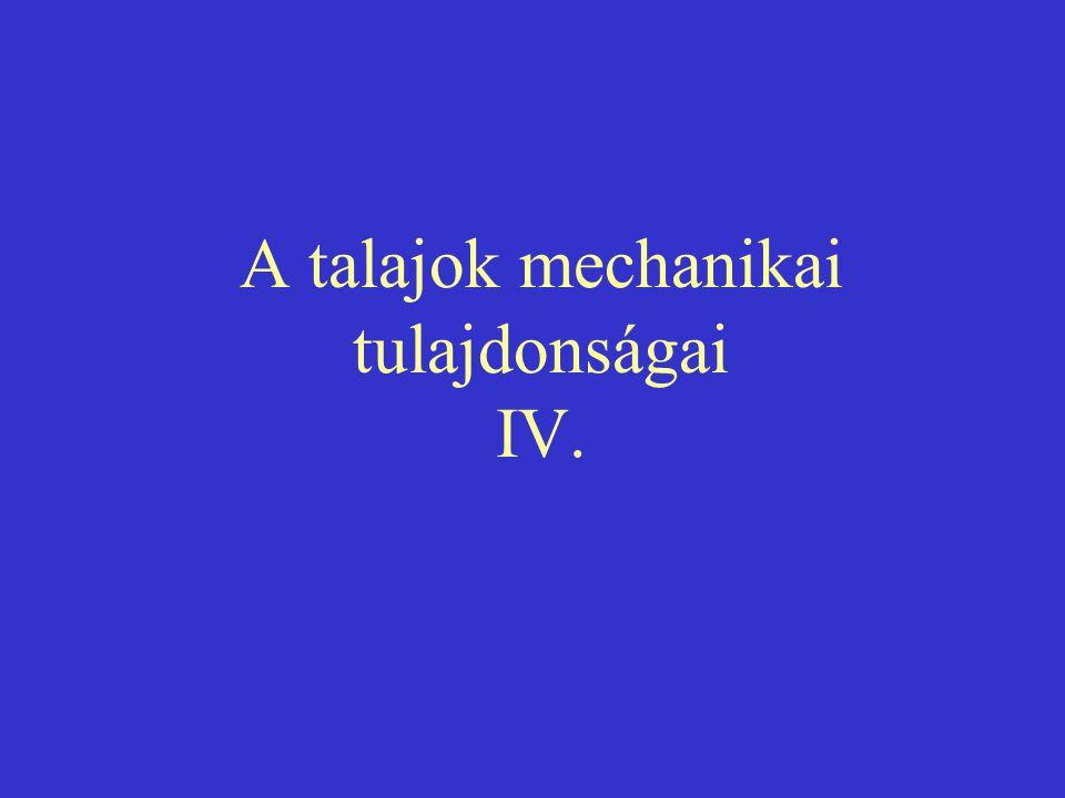 A talajok mechanikai tulajdonságai IV.