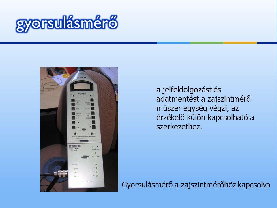 a jelfeldolgozást és adatmentést a zajszintmérő műszer egység végzi, az érzékelő külön kapcsolható a szerkezethez. Gyorsulásmérő a zajszintmérőhöz kap