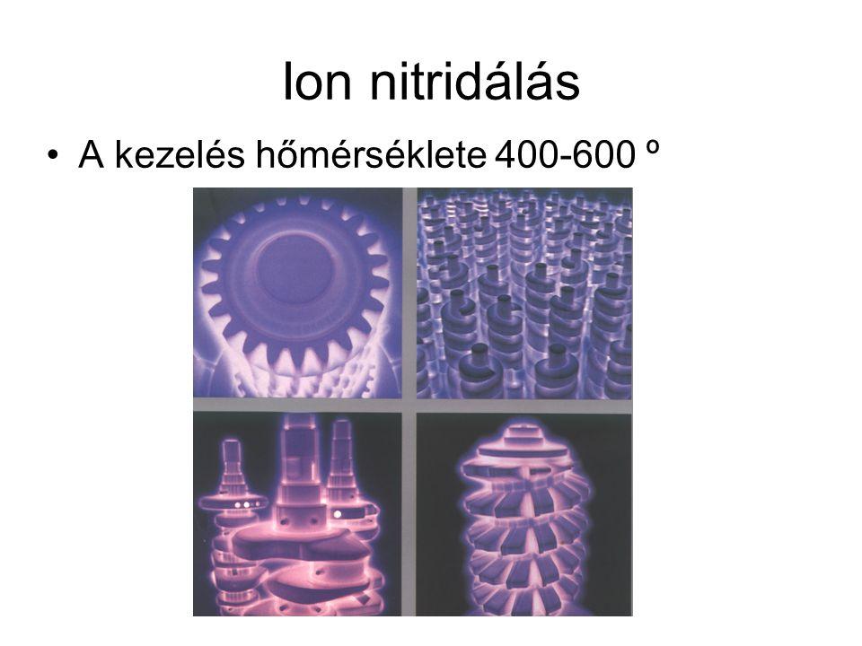 Ion nitridálás A kezelés hőmérséklete 400-600 º
