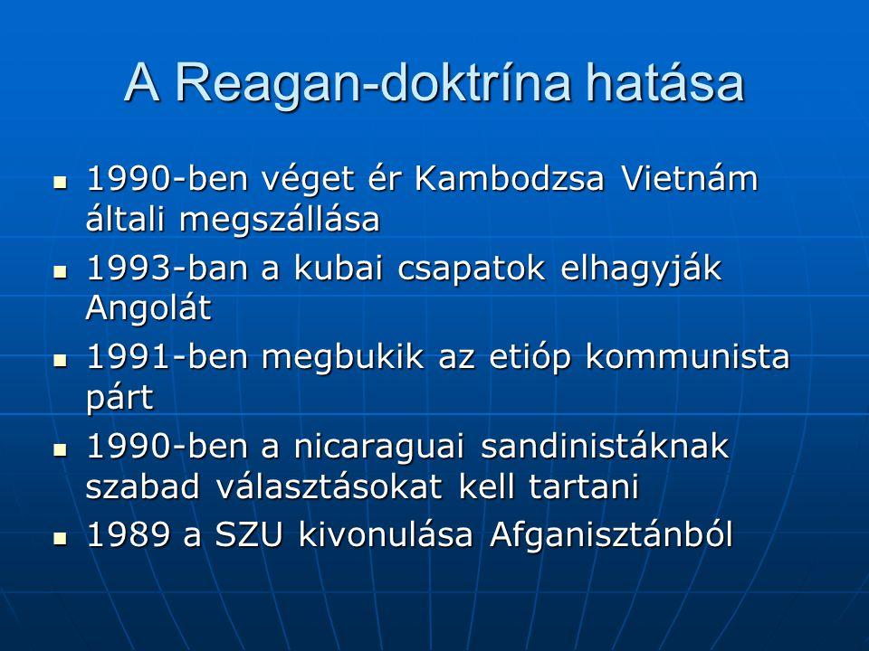 A Reagan-doktrína hatása 1990-ben véget ér Kambodzsa Vietnám általi megszállása 1990-ben véget ér Kambodzsa Vietnám általi megszállása 1993-ban a kuba
