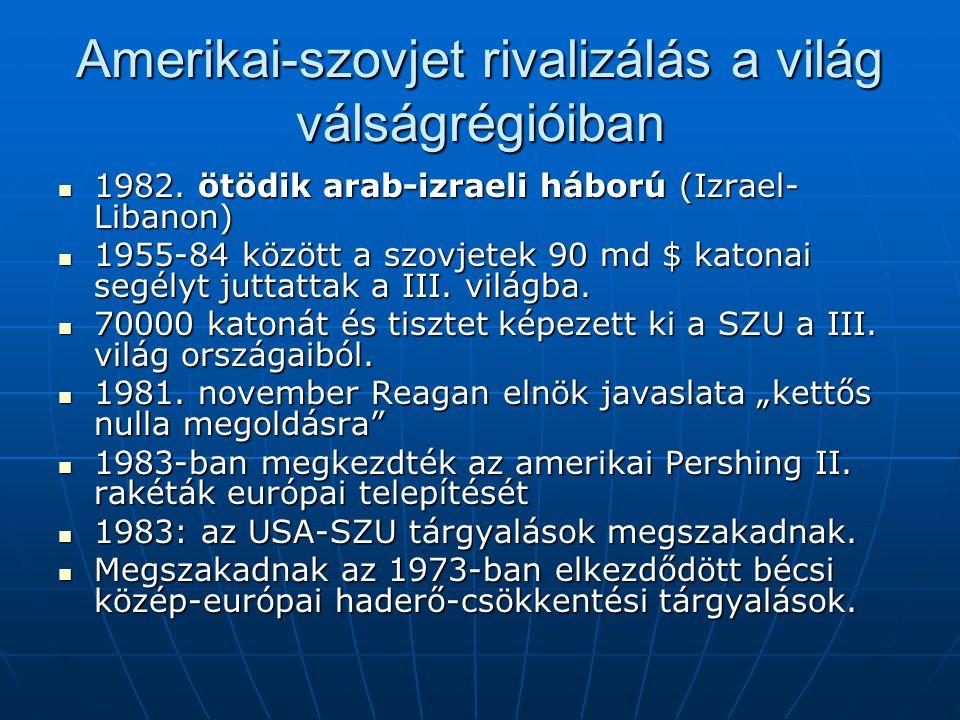 Amerikai-szovjet rivalizálás a világ válságrégióiban 1982. ötödik arab-izraeli háború (Izrael- Libanon) 1982. ötödik arab-izraeli háború (Izrael- Liba