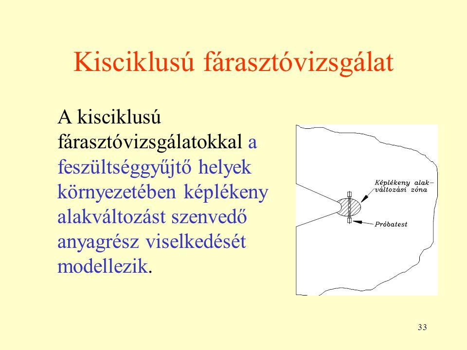33 Kisciklusú fárasztóvizsgálat A kisciklusú fárasztóvizsgálatokkal a feszültséggyűjtő helyek környezetében képlékeny alakváltozást szenvedő anyagrész viselkedését modellezik.