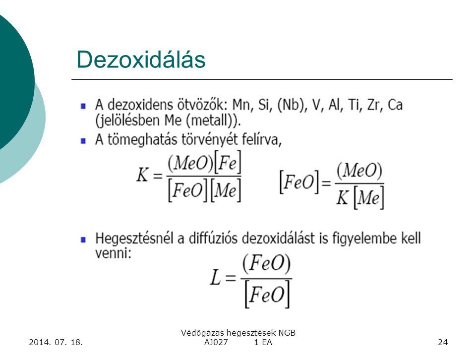 2014. 07. 18. Védőgázas hegesztések NGB AJ027 1 EA24 Dezoxidálás