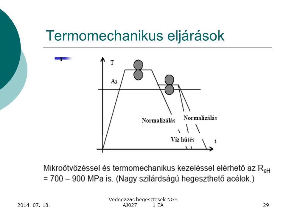 2014. 07. 18. Védőgázas hegesztések NGB AJ027 1 EA29 Termomechanikus eljárások