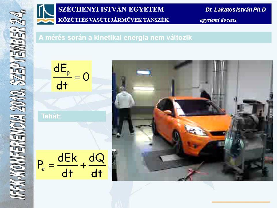 A mérés során a kinetikai energia nem változik Tehát: SZÉCHENYI ISTVÁN EGYETEM Dr. Lakatos István Ph.D KÖZÚTI ÉS VASÚTI JÁRMŰVEK TANSZÉK egyetemi doce