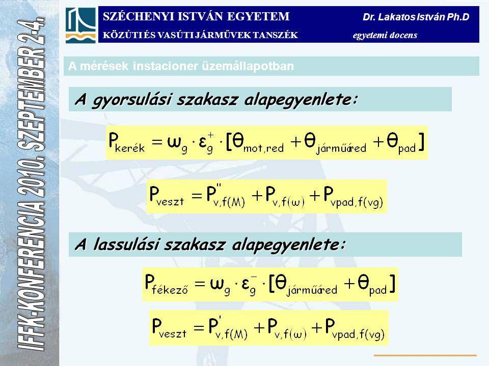 A mérések instacioner üzemállapotban A gyorsulási szakasz alapegyenlete: A lassulási szakasz alapegyenlete: SZÉCHENYI ISTVÁN EGYETEM Dr. Lakatos Istvá