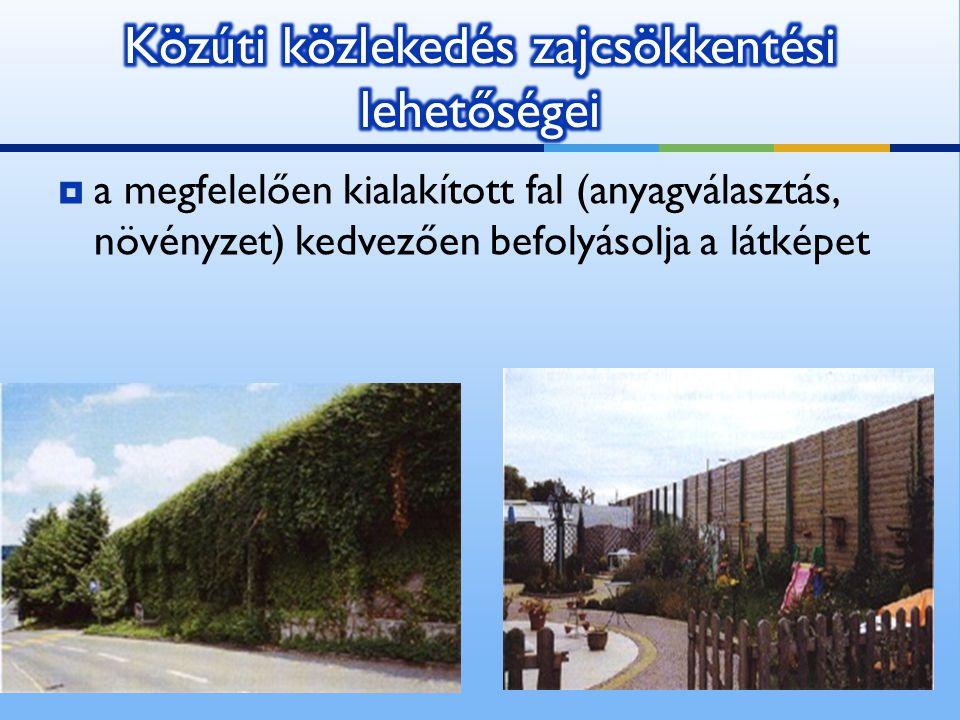  a megfelelően kialakított fal (anyagválasztás, növényzet) kedvezően befolyásolja a látképet