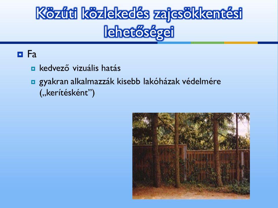 """ Fa  kedvező vizuális hatás  gyakran alkalmazzák kisebb lakóházak védelmére (""""kerítésként"""")"""