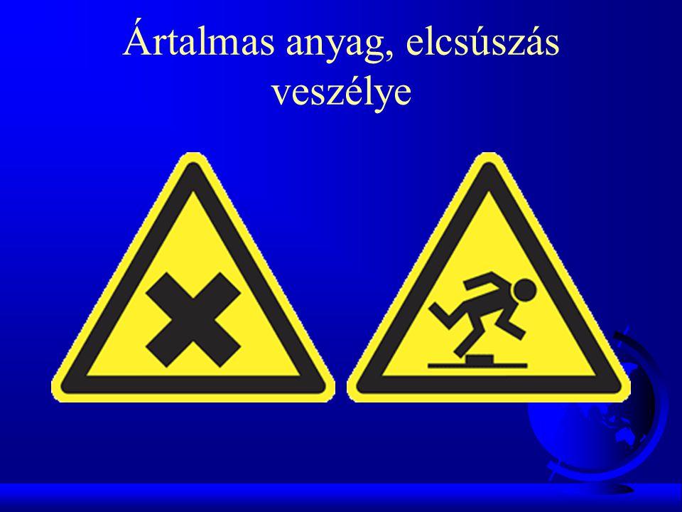 Ártalmas anyag, elcsúszás veszélye