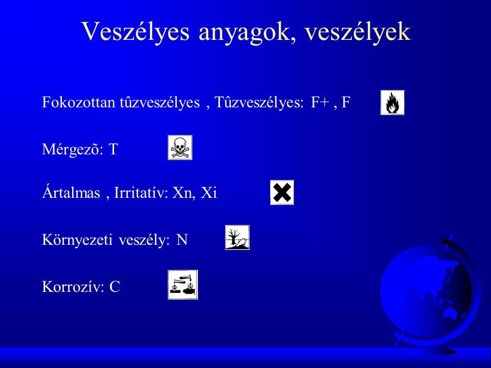 Veszélyesség megállapításának szempontjai 1.Fizikai-kémiai tulajdonságok F Robbanásveszélyes, F Égést tápláló, oxidáló, F Fokozottan tűzveszélyes, stb 2.
