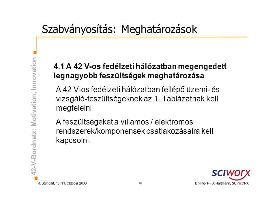 Szabványosítás: Meghatározások 4.1 A 42 V-os fedélzeti hálózatban megengedett legnagyobb feszültségek meghatározása A 42 V-os fedélzeti hálózatban fellépő üzemi- és vizsgáló-feszültségeknek az 1.