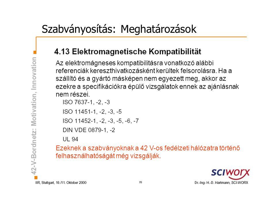 Szabványosítás: Meghatározások Az elektromágneses kompatibilitásra vonatkozó alábbi referenciák kereszthivatkozásként kerültek felsorolásra.