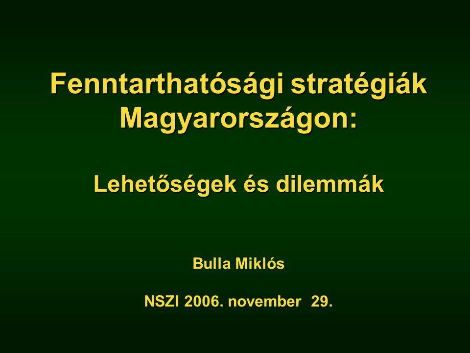 Fenntarthatósági stratégiák Magyarországon: Lehetőségek és dilemmák Fenntarthatósági stratégiák Magyarországon: Lehetőségek és dilemmák Bulla Miklós NSZI 2006.