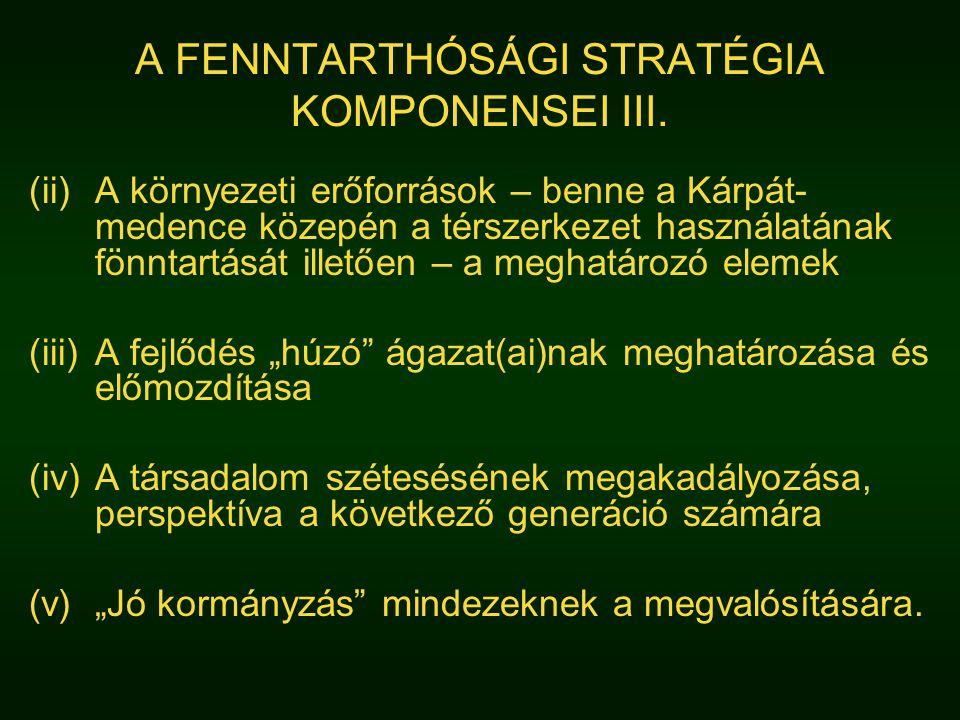 A FENNTARTHÓSÁGI STRATÉGIA KOMPONENSEI III. (ii)A környezeti erőforrások – benne a Kárpát- medence közepén a térszerkezet használatának fönntartását i