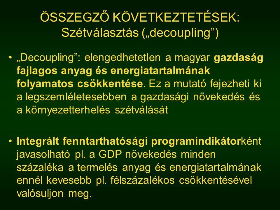 """ÖSSZEGZŐ KÖVETKEZTETÉSEK: Szétválasztás (""""decoupling ) """"Decoupling : elengedhetetlen a magyar gazdaság fajlagos anyag és energiatartalmának folyamatos csökkentése."""