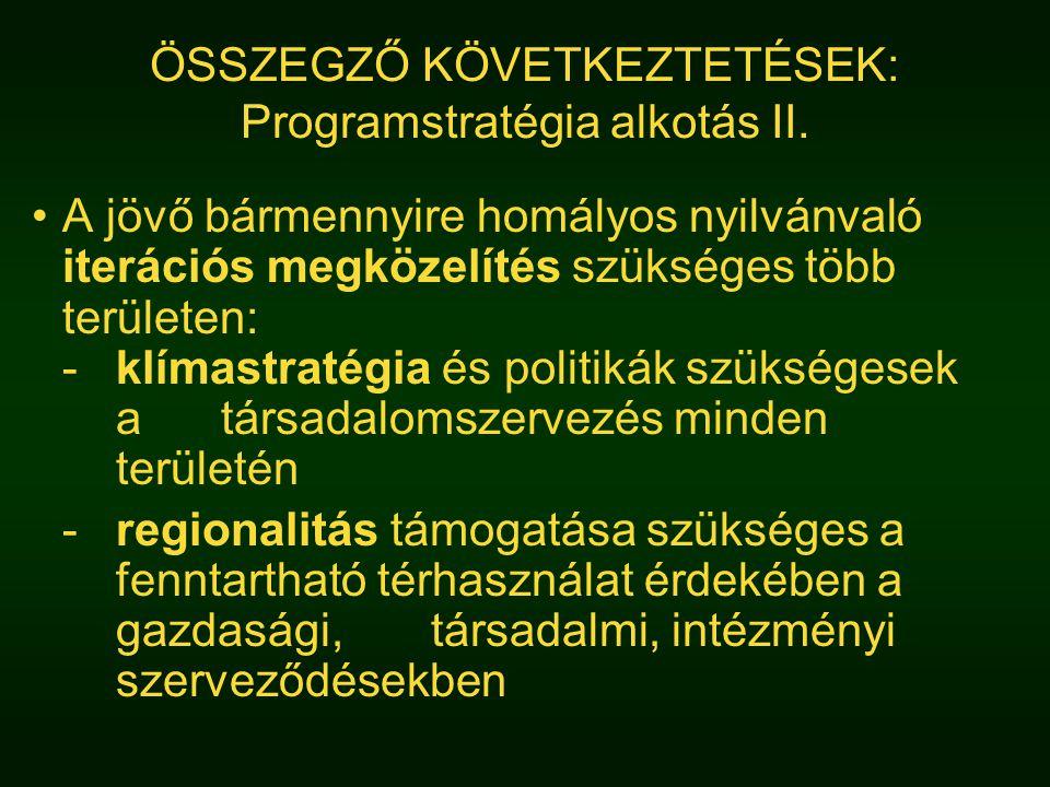 ÖSSZEGZŐ KÖVETKEZTETÉSEK: Programstratégia alkotás II.