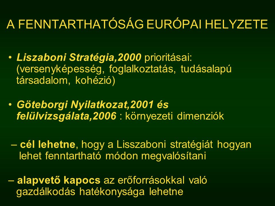 A FENNTARTHATÓSÁG EURÓPAI HELYZETE Liszaboni Stratégia,2000 prioritásai: (versenyképesség, foglalkoztatás, tudásalapú társadalom, kohézió) Göteborgi Nyilatkozat,2001 és felülvizsgálata,2006 : környezeti dimenziók – cél lehetne, hogy a Lisszaboni stratégiát hogyan lehet fenntartható módon megvalósítani – alapvető kapocs az erőforrásokkal való gazdálkodás hatékonysága lehetne