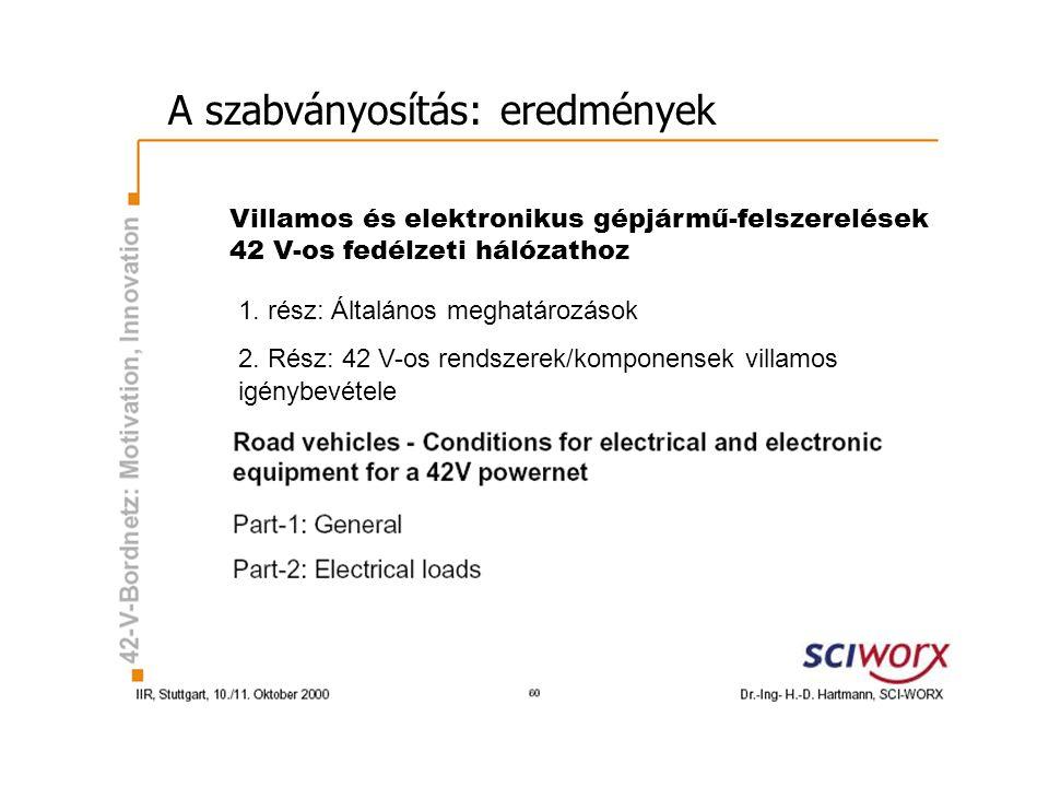 A szabványosítás: eredmények Villamos és elektronikus gépjármű-felszerelések 42 V-os fedélzeti hálózathoz 1.