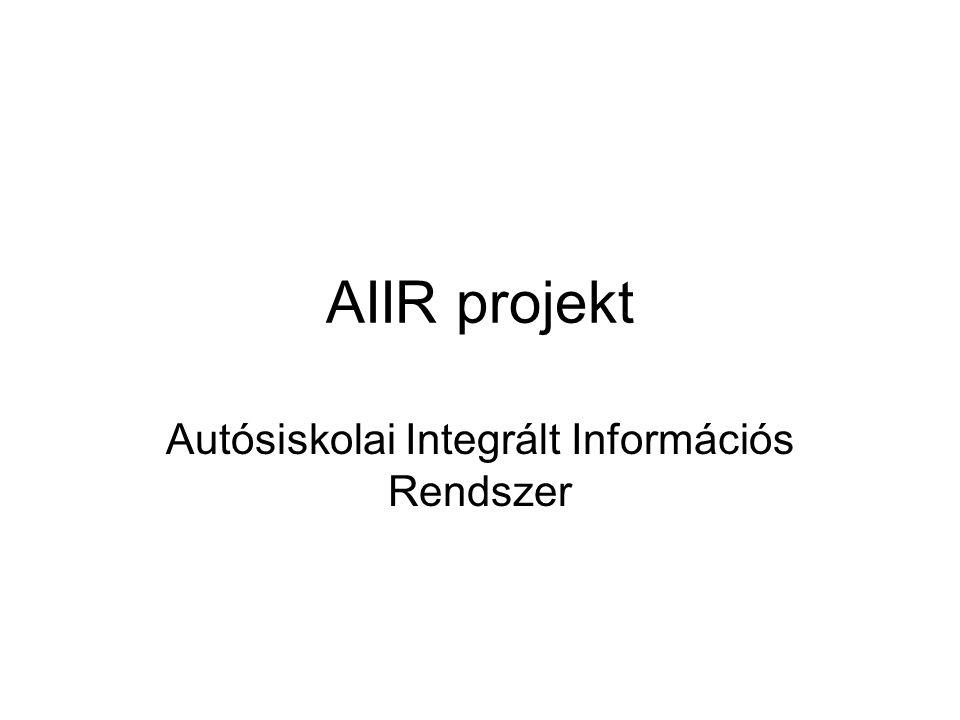 AIIR projekt Autósiskolai Integrált Információs Rendszer