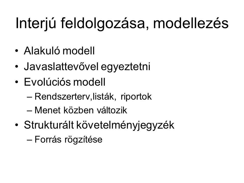 Interjú feldolgozása, modellezés Alakuló modell Javaslattevővel egyeztetni Evolúciós modell –Rendszerterv,listák, riportok –Menet közben változik Strukturált követelményjegyzék –Forrás rögzítése