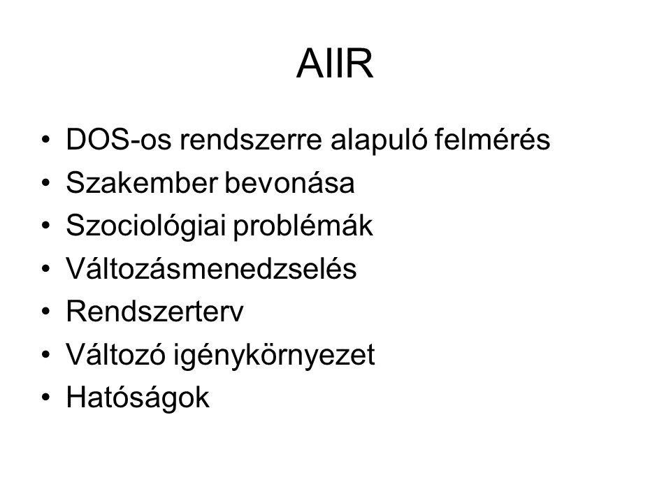 AIIR DOS-os rendszerre alapuló felmérés Szakember bevonása Szociológiai problémák Változásmenedzselés Rendszerterv Változó igénykörnyezet Hatóságok