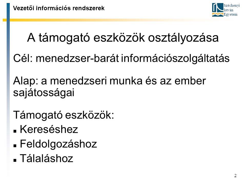 Széchenyi István Egyetem 3 Támogató eszközök 1: Kereséshez adatbázis elérési algoritmusok OLAP-kocka