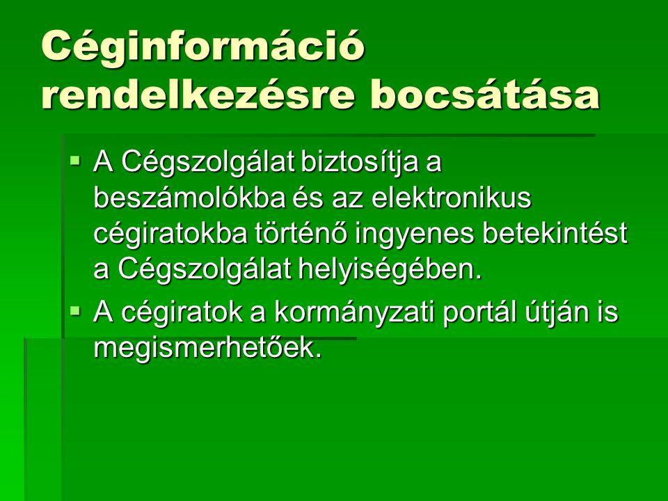 Céginformáció rendelkezésre bocsátása  A Cégszolgálat biztosítja a beszámolókba és az elektronikus cégiratokba történő ingyenes betekintést a Cégszol