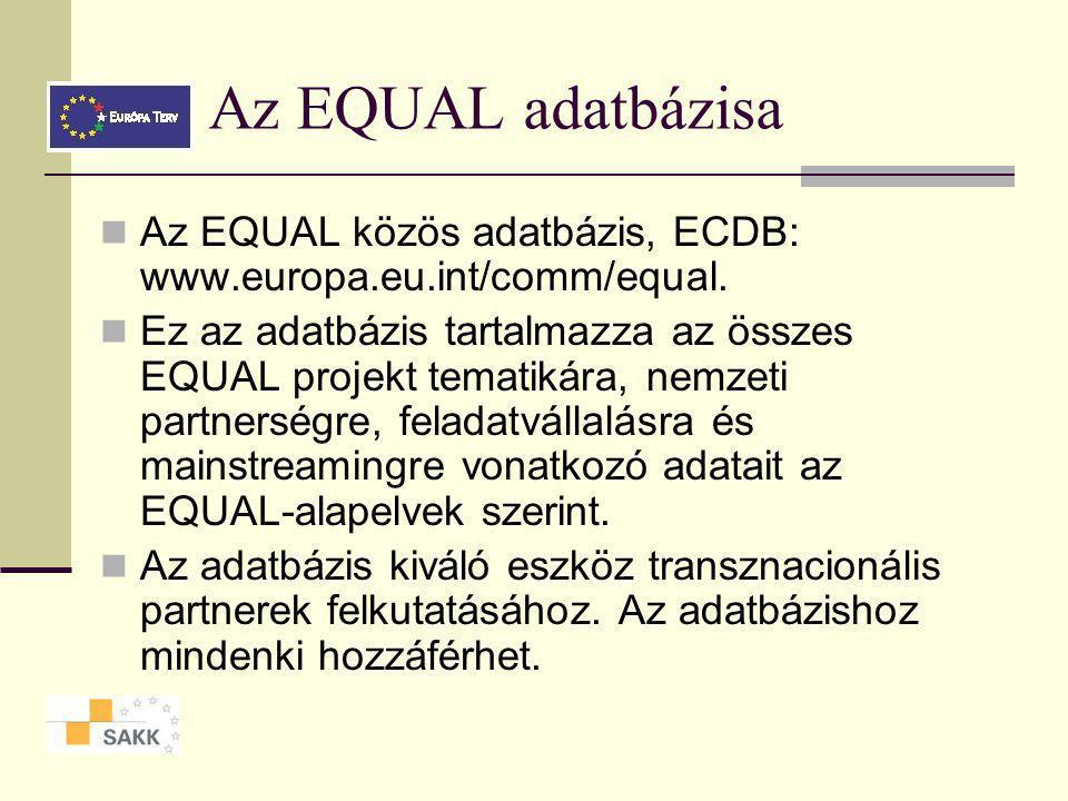 Az EQUAL végrehajtása Négy szakasz (action) 1.