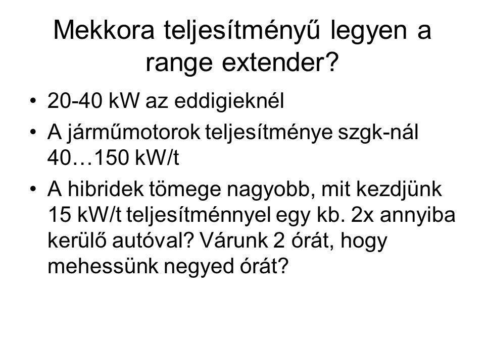 Mekkora teljesítményű legyen a range extender? 20-40 kW az eddigieknél A járműmotorok teljesítménye szgk-nál 40…150 kW/t A hibridek tömege nagyobb, mi