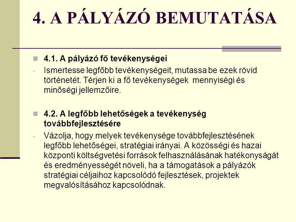 3. A PÁLYÁZÓ ADATAI 3.17. Az éves árbevétel megoszlása az egyes tevékenységek között - A Projekt adatlapon kért adat kitöltésére fokozott figyelmet fo