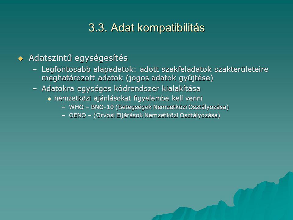 3.3. Adat kompatibilitás  Adatszintű egységesítés –Legfontosabb alapadatok: adott szakfeladatok szakterületeire meghatározott adatok (jogos adatok gy