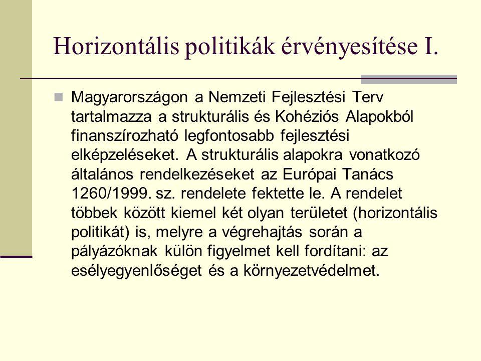Horizontális politikák érvényesítése I.