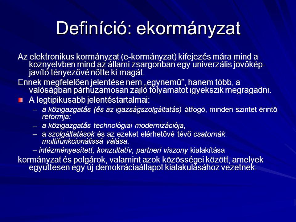 Definíció: ekormányzat Az elektronikus kormányzat (e-kormányzat) kifejezés mára mind a köznyelvben mind az állami zsargonban egy univerzális jövőkép-
