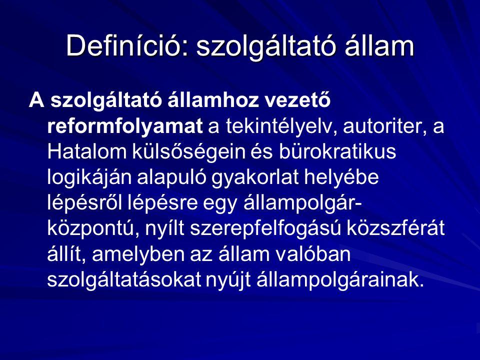 Definíció: szolgáltató állam A szolgáltató államhoz vezető reformfolyamat a tekintélyelv, autoriter, a Hatalom külsőségein és bürokratikus logikáján a