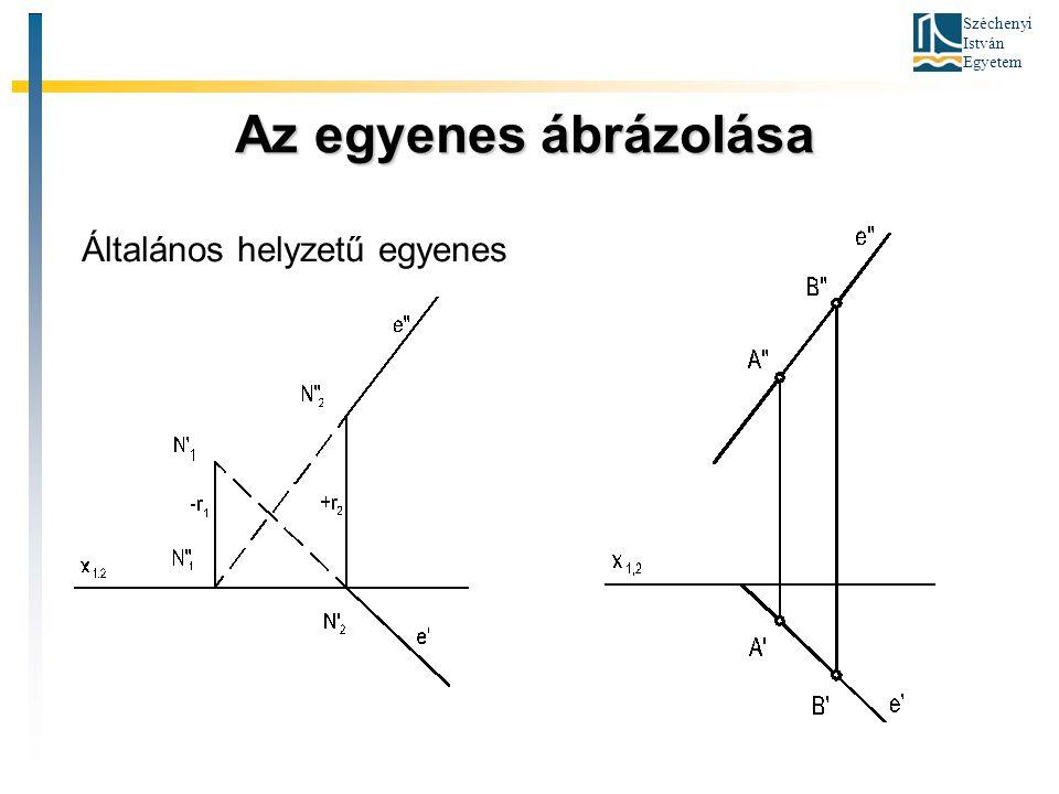 Széchenyi István Egyetem Az egyenes ábrázolása Az egyenes ábrázolása Általános helyzetű egyenes