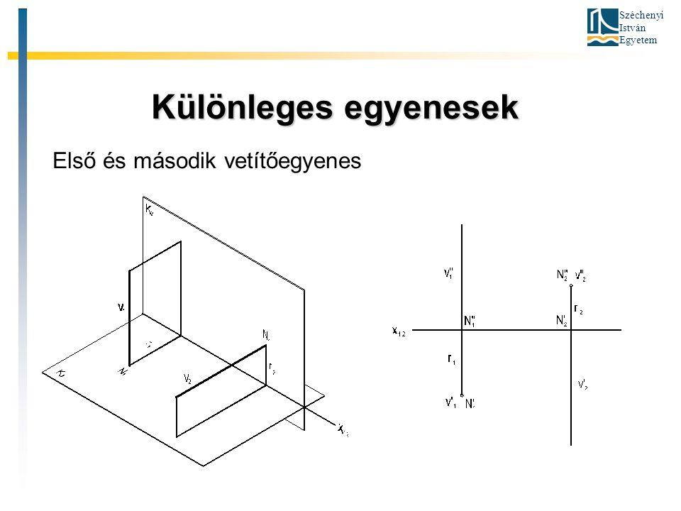 Széchenyi István Egyetem Különleges egyenesek Különleges egyenesek Első és második vetítőegyenes